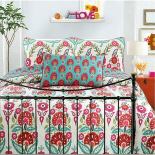 Hitchens Floral 100% Cotton Reversible Quilt Set