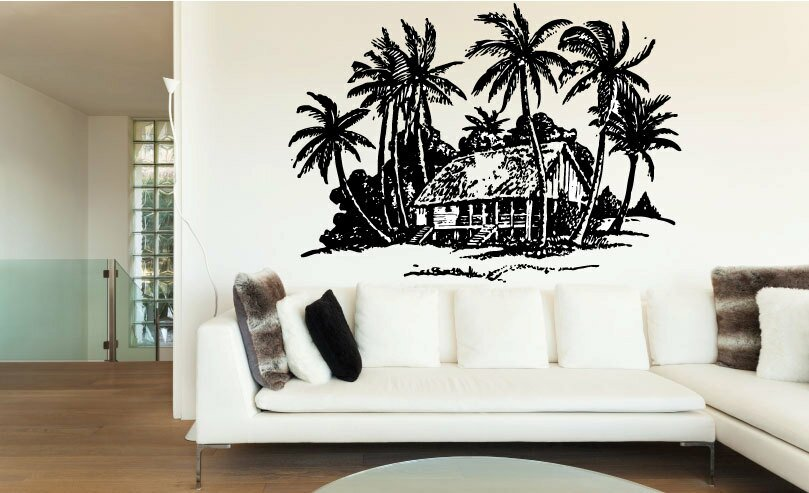 Nitin Beach House And Palm Trees Wall Decal