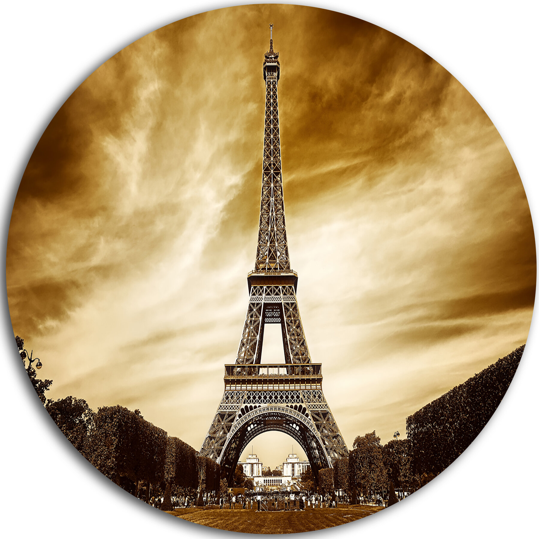 DesignArt \'Eiffel Tower in Grey Shade\' Photographic Print on Metal ...