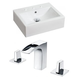 Savings Above Counter Ceramic Rectangular Vessel Bathroom Sink with Faucet and Overflow By Royal Purple Bath Kitchen