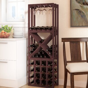 Karnes Pine Lattice Stacking Cube 45 Bottle Floor Wine Rack