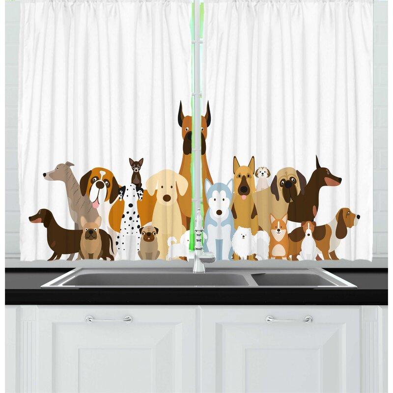 East Urban Home 2 Piece Dog Lover Cartoon Illustration Of Funny Pet Breeds In Various Sizes And Sides Graphic Kitchen Curtain Set Wayfair