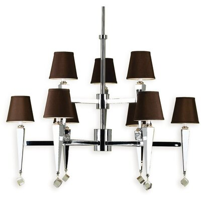 9-Light Shaded Chandelier AF Lighting Shade Color: Chocolate