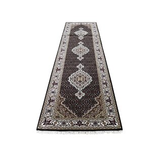 Coupon One-of-a-Kind Bakken Mahi Hand-Knotted 2'8 x 10'2 Wool/Silk Black/Red/Ivory Area Rug By Isabelline