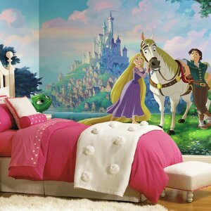 Disney Princess Tangled Chair Rail Prepasted Wall Mural