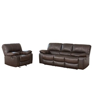 Husebye Reclining 2 Piece Leather Living Room Set Latitude Run