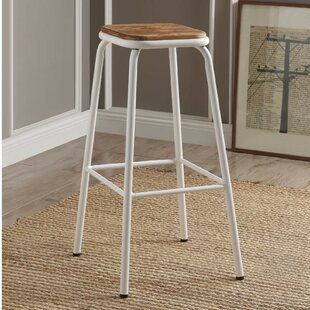 Camara Industrial Metal Frame Wooden Bar Stool (Set of 2)