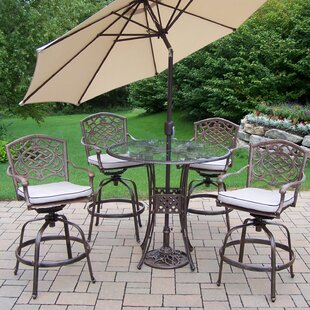 Hummingbird Mississippi 6 Piece Bar Height Dining Set with Cushions and Umbrella