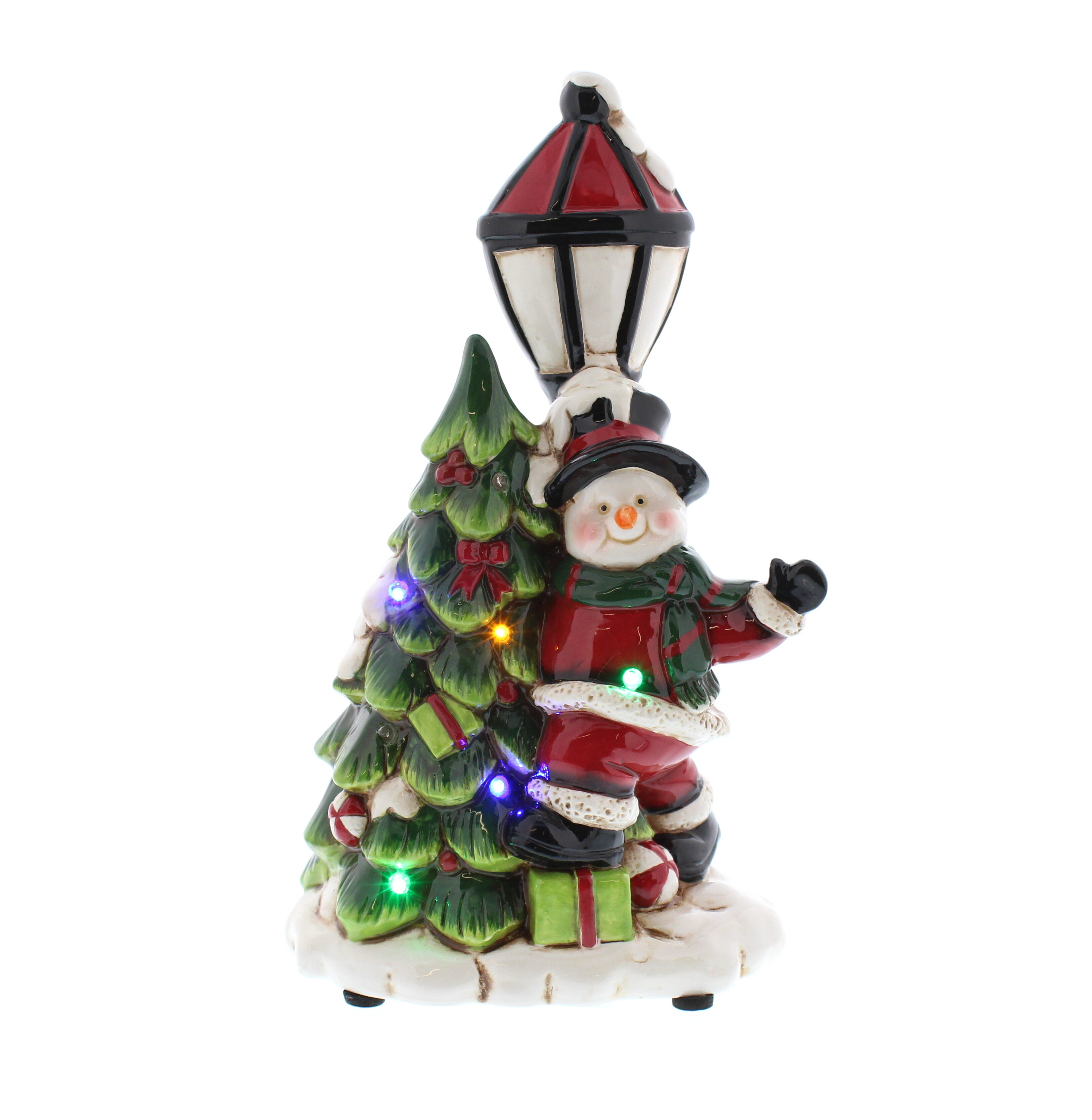 Battery Operated Snowman With Christmas Tree And Lamp Post 7 Led Bulbusic