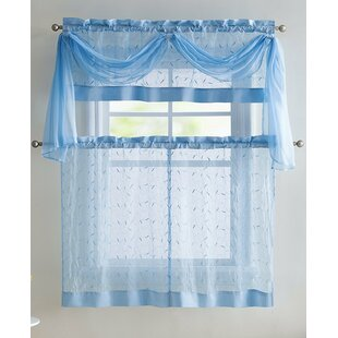 Broussard Linen Leaf Embroidered Sheer Kitchen Curtain by Charlton Home
