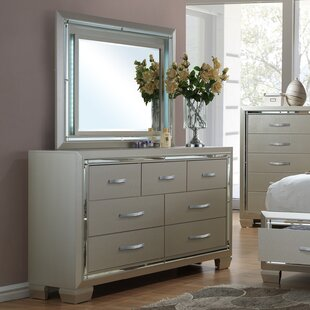 Rocky 7 Drawer Double Dresser with Mirror