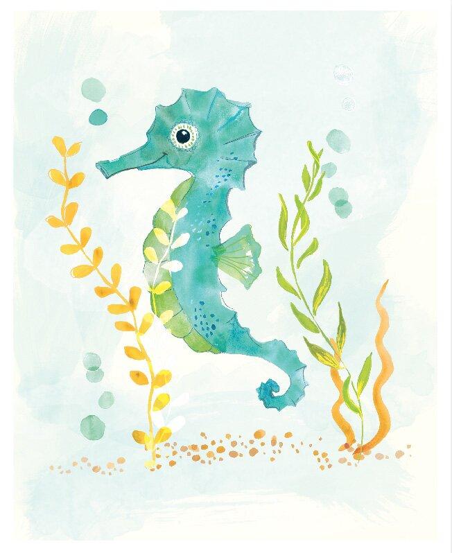 Sea Urchin Studio Seahorse Art Painting Print On Paper Wayfair