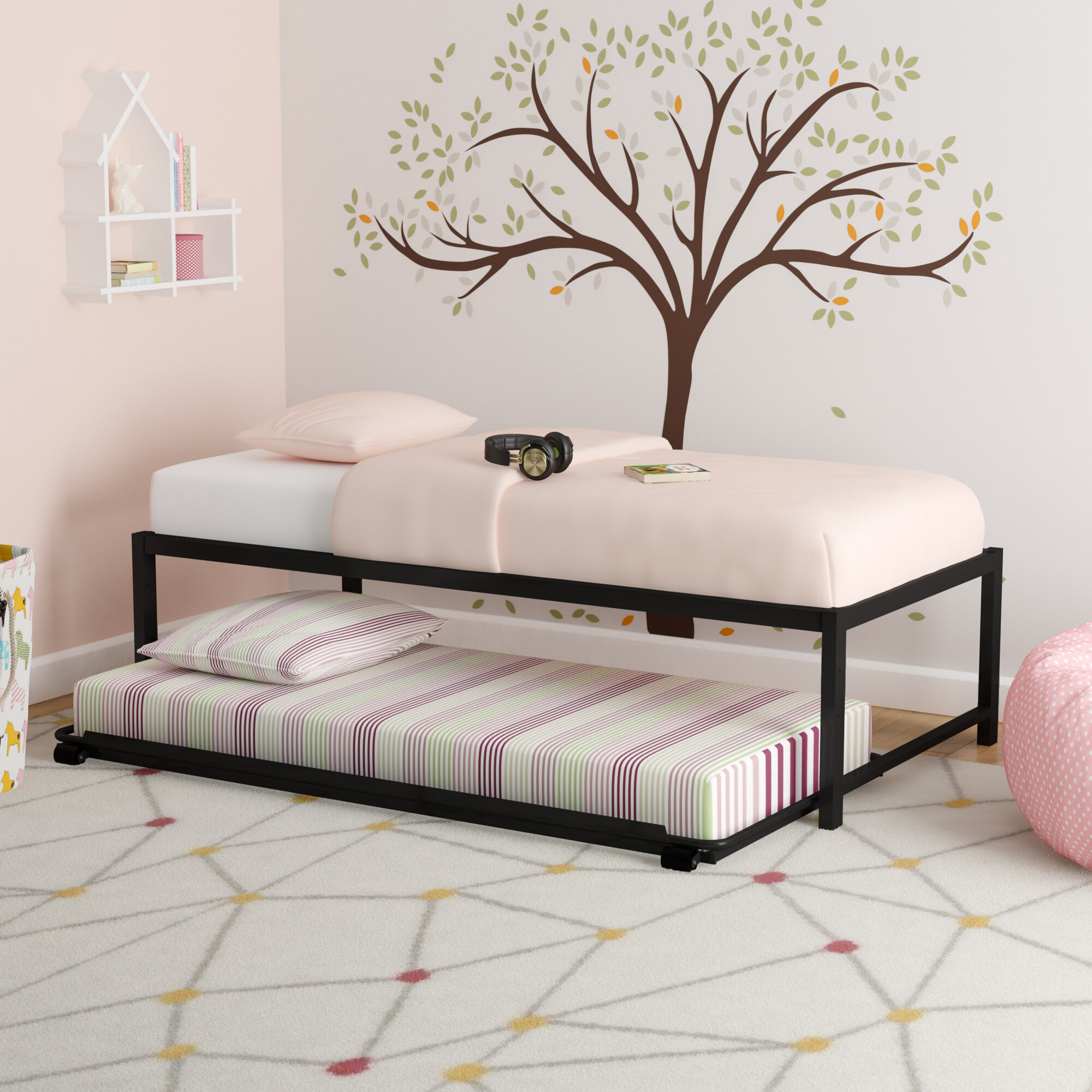Twin Platform Bed With Trundle Home Ideas