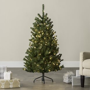 green spruce artificial christmas tree with clearwhite lights - Pre Lit Artificial Christmas Trees Sale