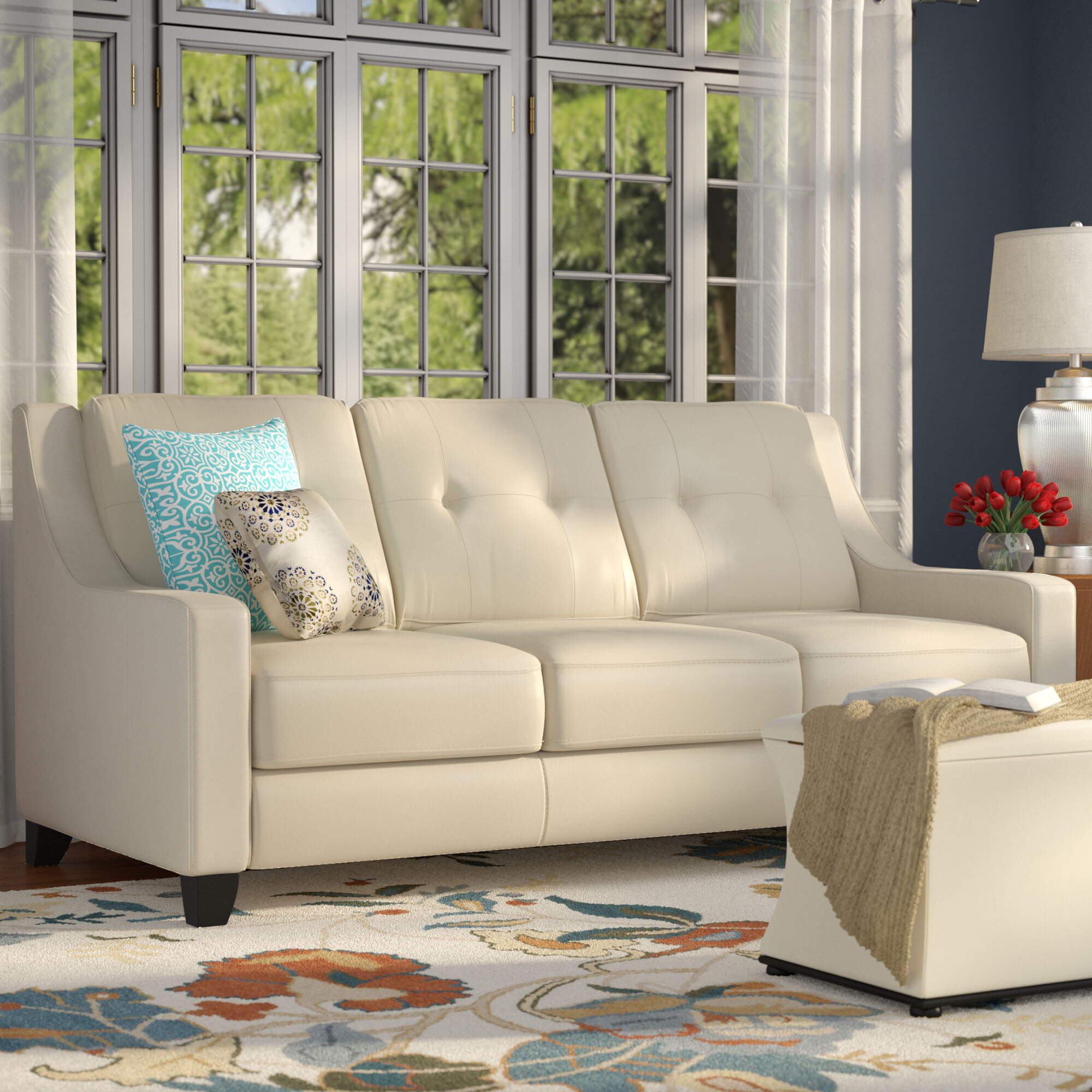 Red Barrel Studio Stouffer Leather Sofa Sleeper U0026 Reviews | Wayfair