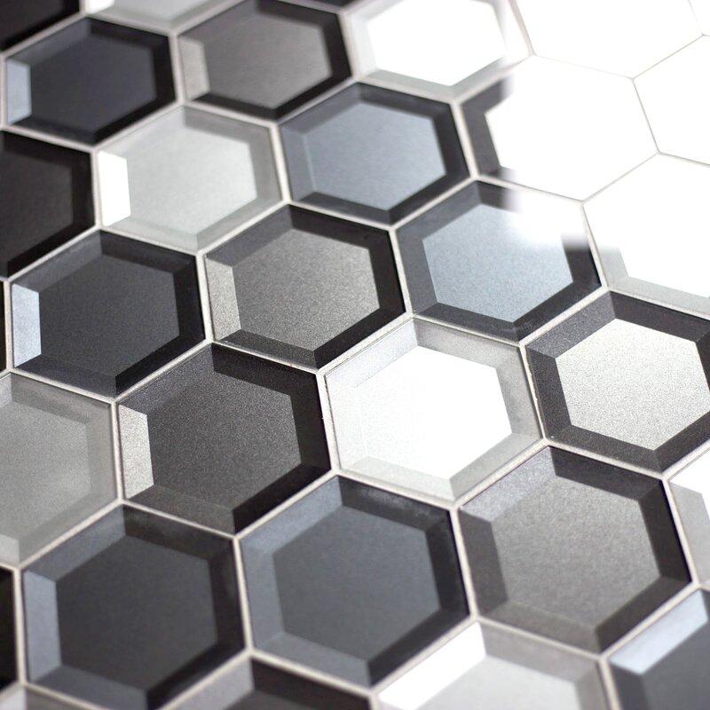 Abolos Secret Dimensions 3 X 3 Glass Mosaic Tile In Cool Gray