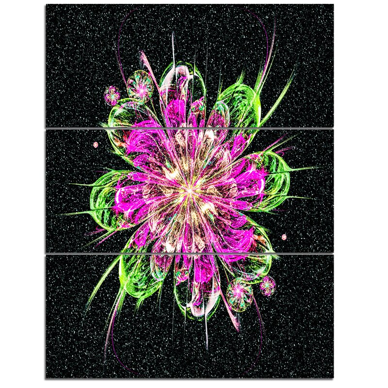Designart Perfect Fractal Flower In Purple And Green 3 Piecegraphic Art On Wrapped Canvas Set Wayfair