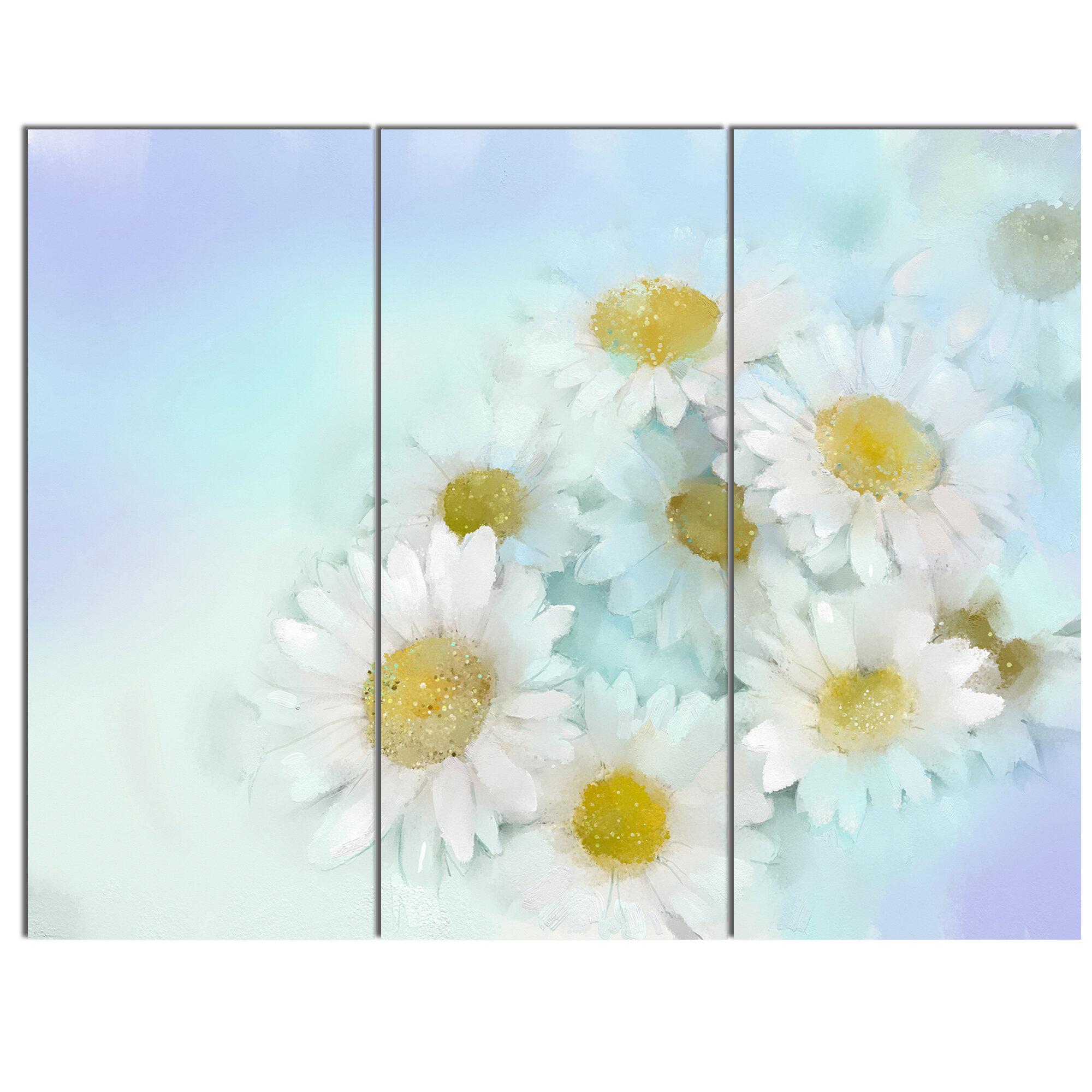 Designart White Gerbera Flowers On Light Blue 3 Piece Painting