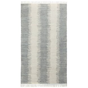 Top Brands of Bruges Jagged Handmade-Flatweave Cotton Gray/White Area Rug ByHighland Dunes