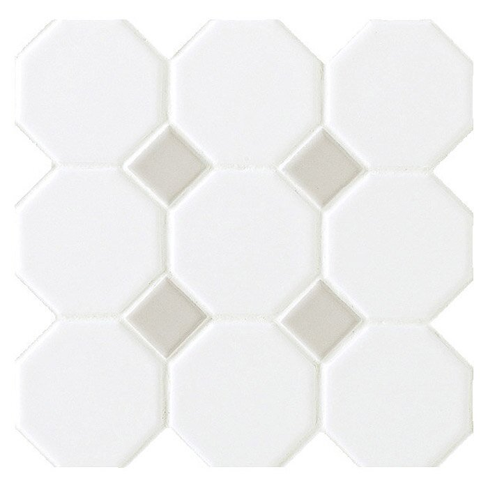 Octagon and Dot 2  x 2  Ceramic Mosaic Tile in Glazed Matte White with. Daltile Octagon and Dot 2  x 2  Ceramic Mosaic Tile in Glazed