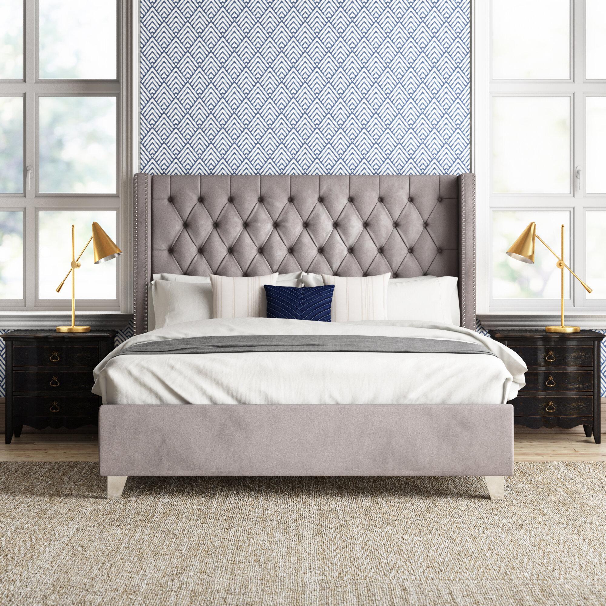 velvet platform bed