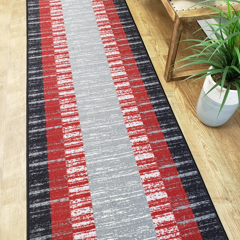Ebern Designs Zlatkus Striped Black Red Gray Area Rug Reviews Wayfair