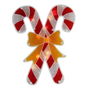 Holographic Candy Cane Christmas Window Silhouette 10 Light Lighting Accessory