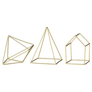3 Piece Gold Iron Decorative Sculpture Set