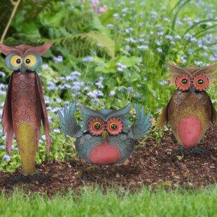 Charmant Whimsical 3 Piece Owl Garden Statue Set