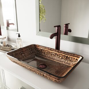 Greek Glass Circular Vessel Bathroom Sink with Faucet
