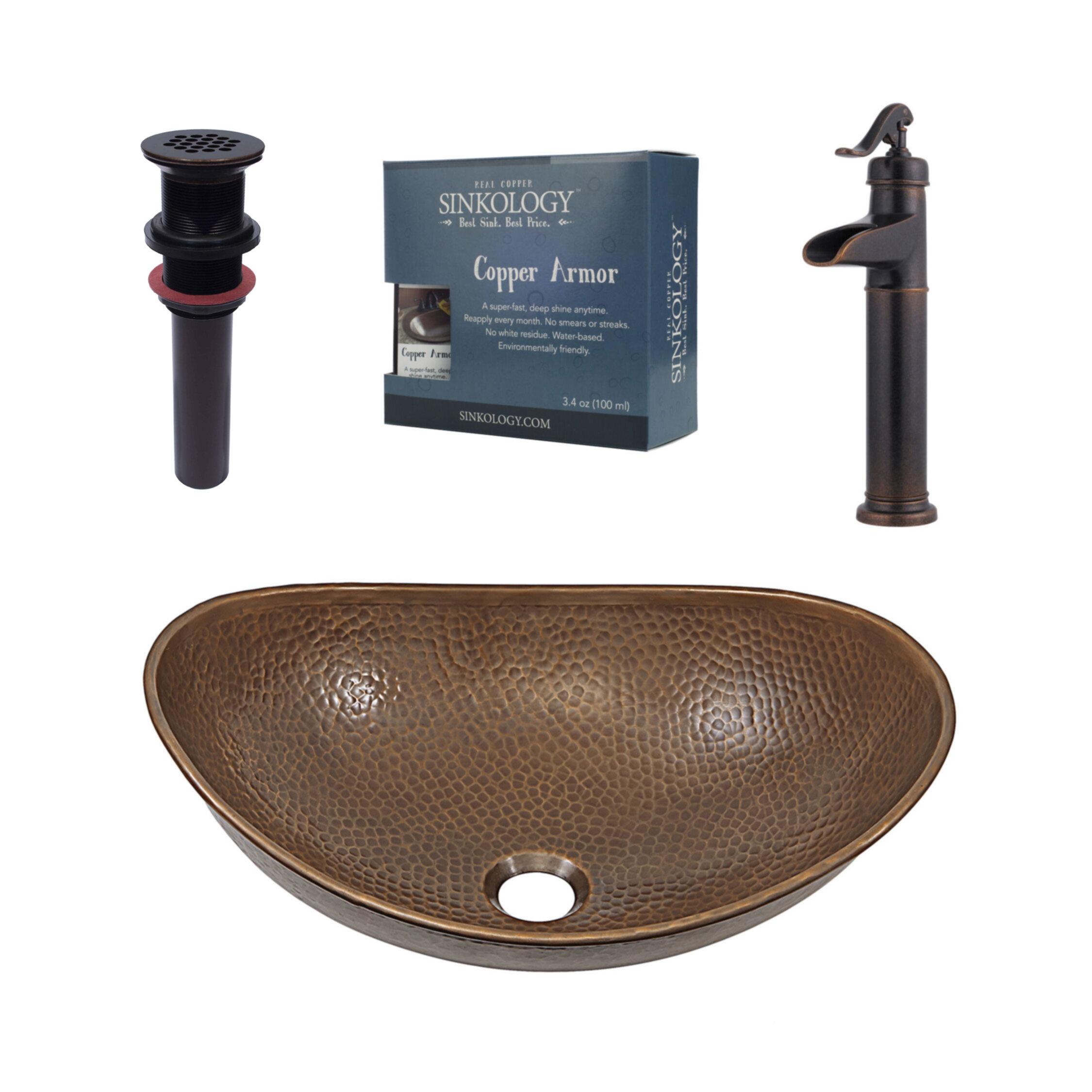 Sinkology Confucius Metal Oval Vessel Bathroom Sink With Faucet Wayfair