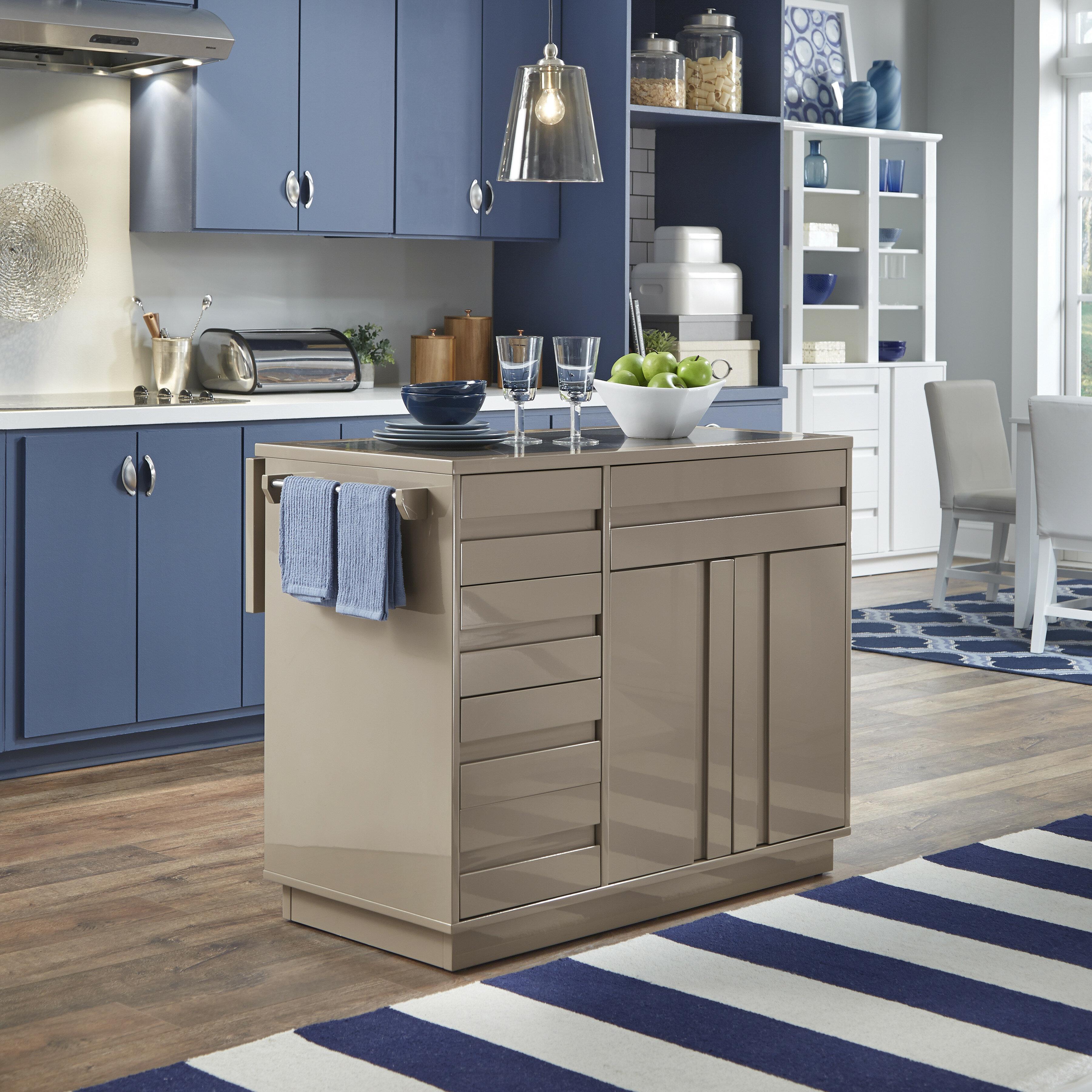 Wade Logan Clements Kitchen Island With Quartz Top Reviews Wayfair