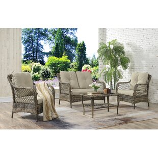 Kaiya 4 Pieces Rattan Sofa Set with Cushions by Ophelia & Co.