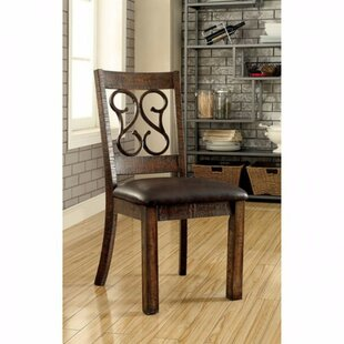 Crumley Wooden Side Leather Upholstered Dining Chair (Set of 2)