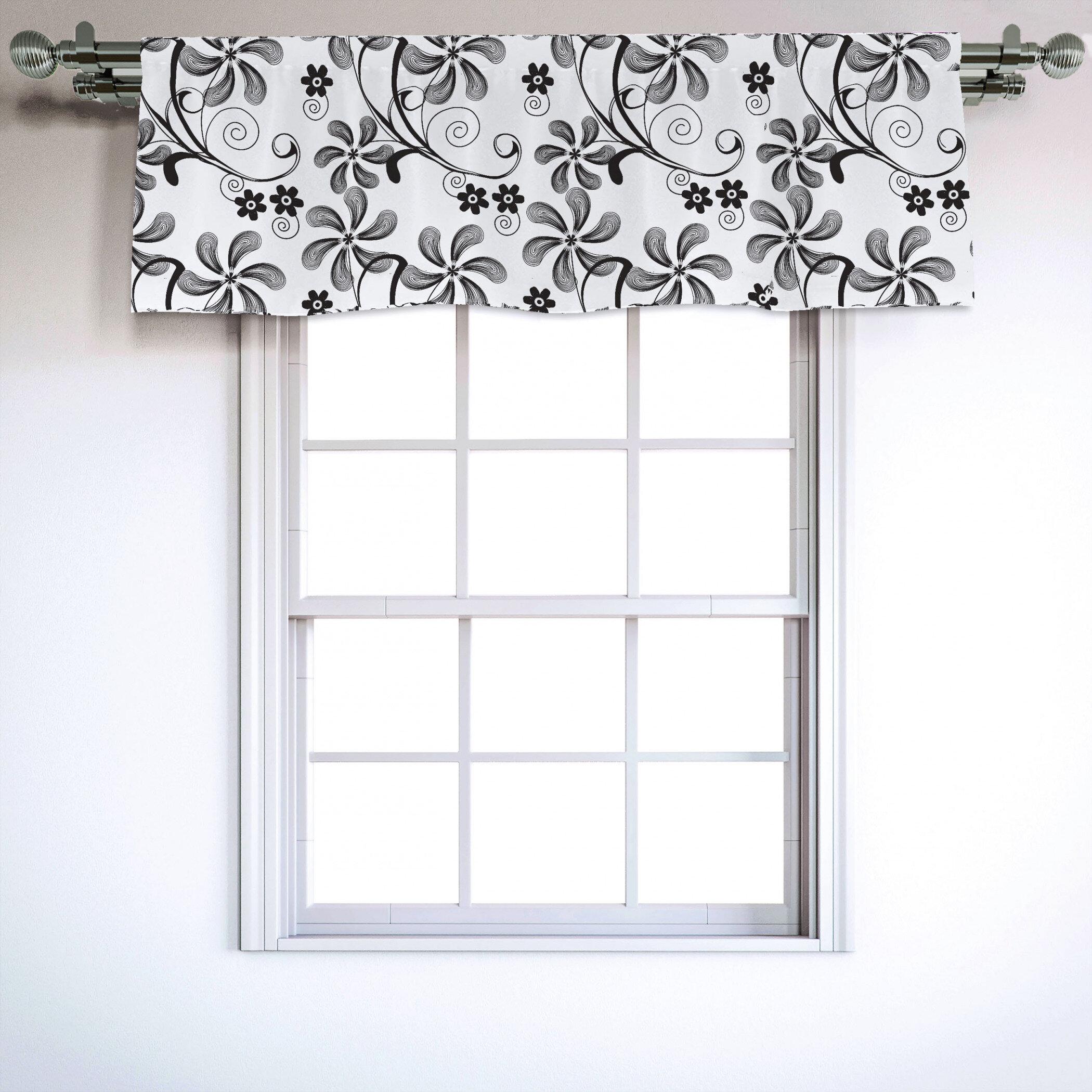 East Urban Home Floral Sateen Ruffled 54 Window Valance In Black White Wayfair