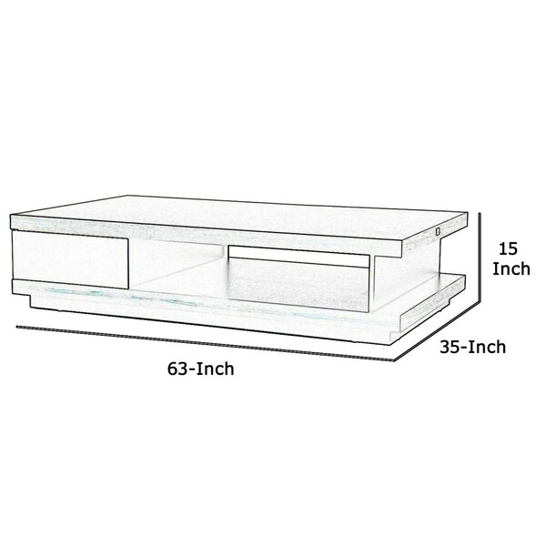 Benjara Wooden Coffee Table With Open Shelf And Storage Drawer Brown And White Wayfair
