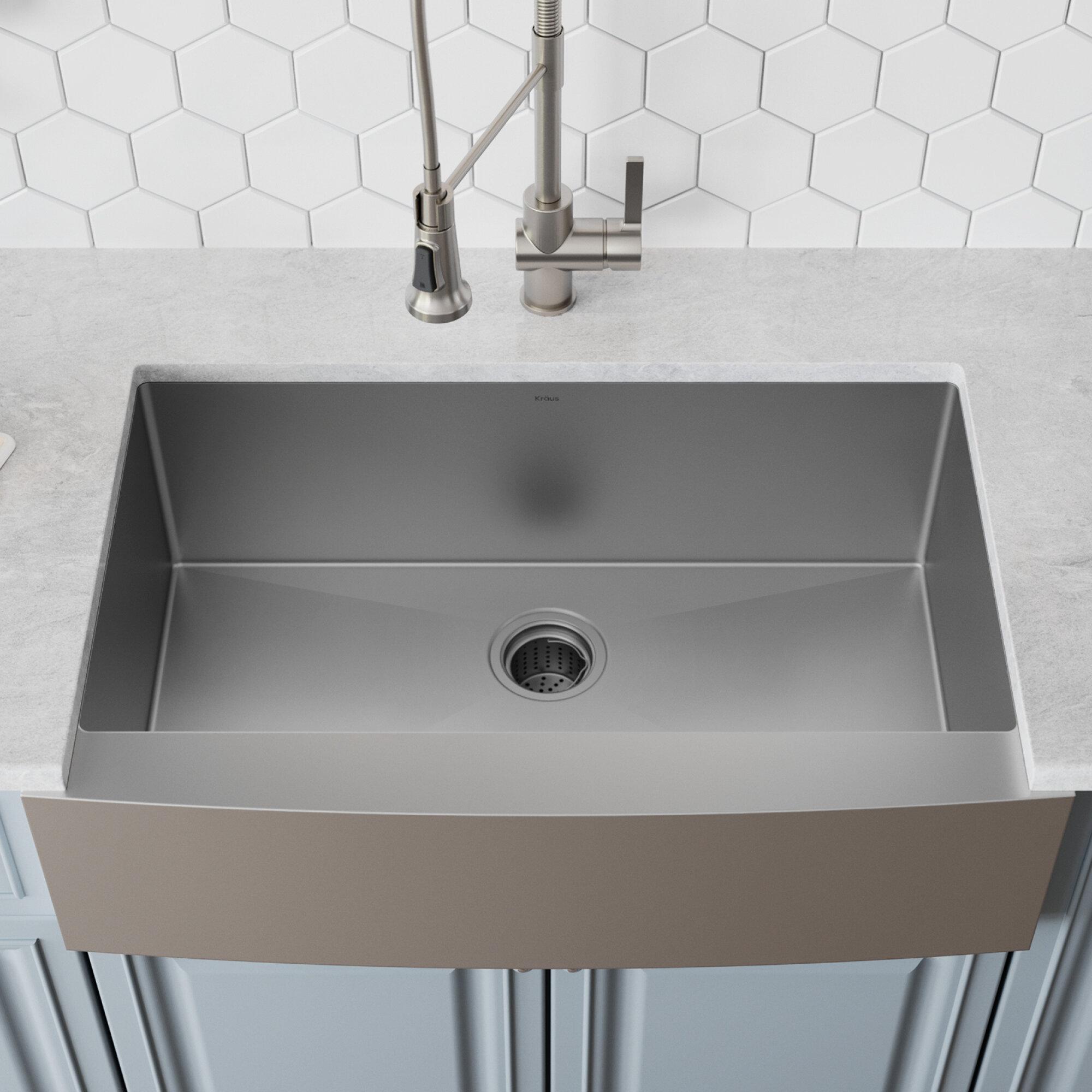 Khf200 36 Kraus 36 L X 21 W Farmhouse Kitchen Sink With Drain