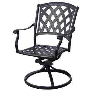 Campton Swivel Patio Dining Chair with Cushion (Set of 2)