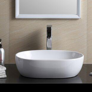 Order Modern Vitreous China Oval Vessel Bathroom Sink ByFine Fixtures
