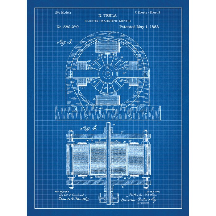 Inked and screened tesla electro magnetic motor blueprint graphic tesla electro magnetic motor blueprint graphic art malvernweather Image collections