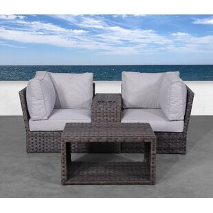 Cochran 4 Piece Rattan 2 Person Seating Group with Cushions