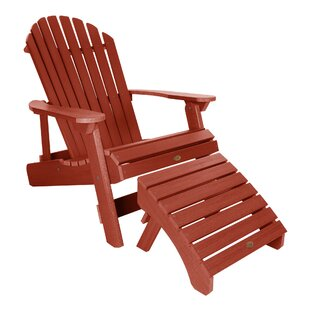 King Hamilton Plastic Folding and Reclining Adirondack Chair with Ottoman by Highwood USA