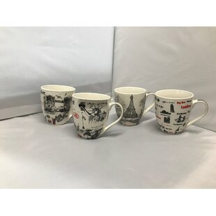 Tiedeman Assorted Bone China Coffee Mug Set (Set of 4)