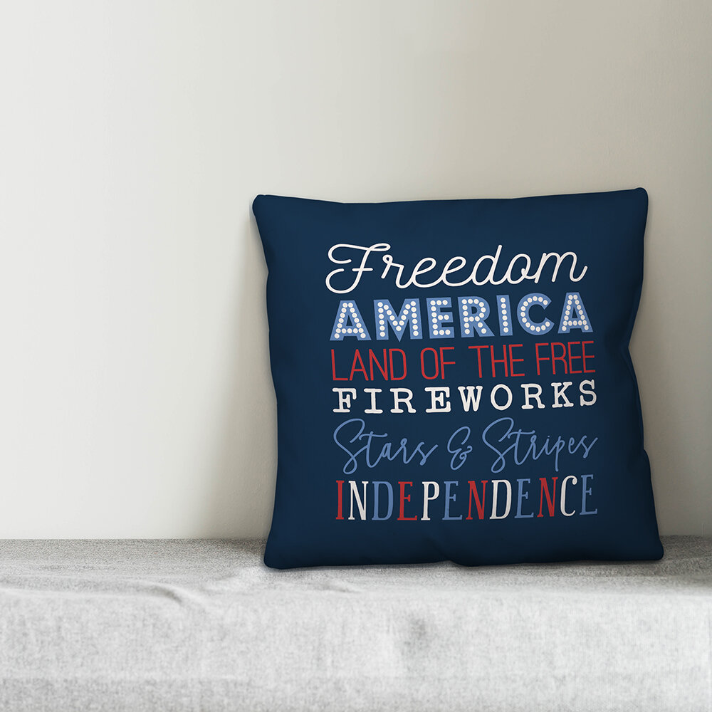 August Grove Wike American Words Throw Pillow Cover Wayfair