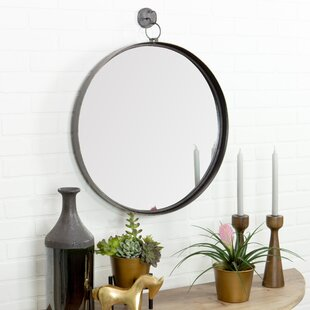 Review Della Suspended Round Wall Mirror by Gracie Oaks