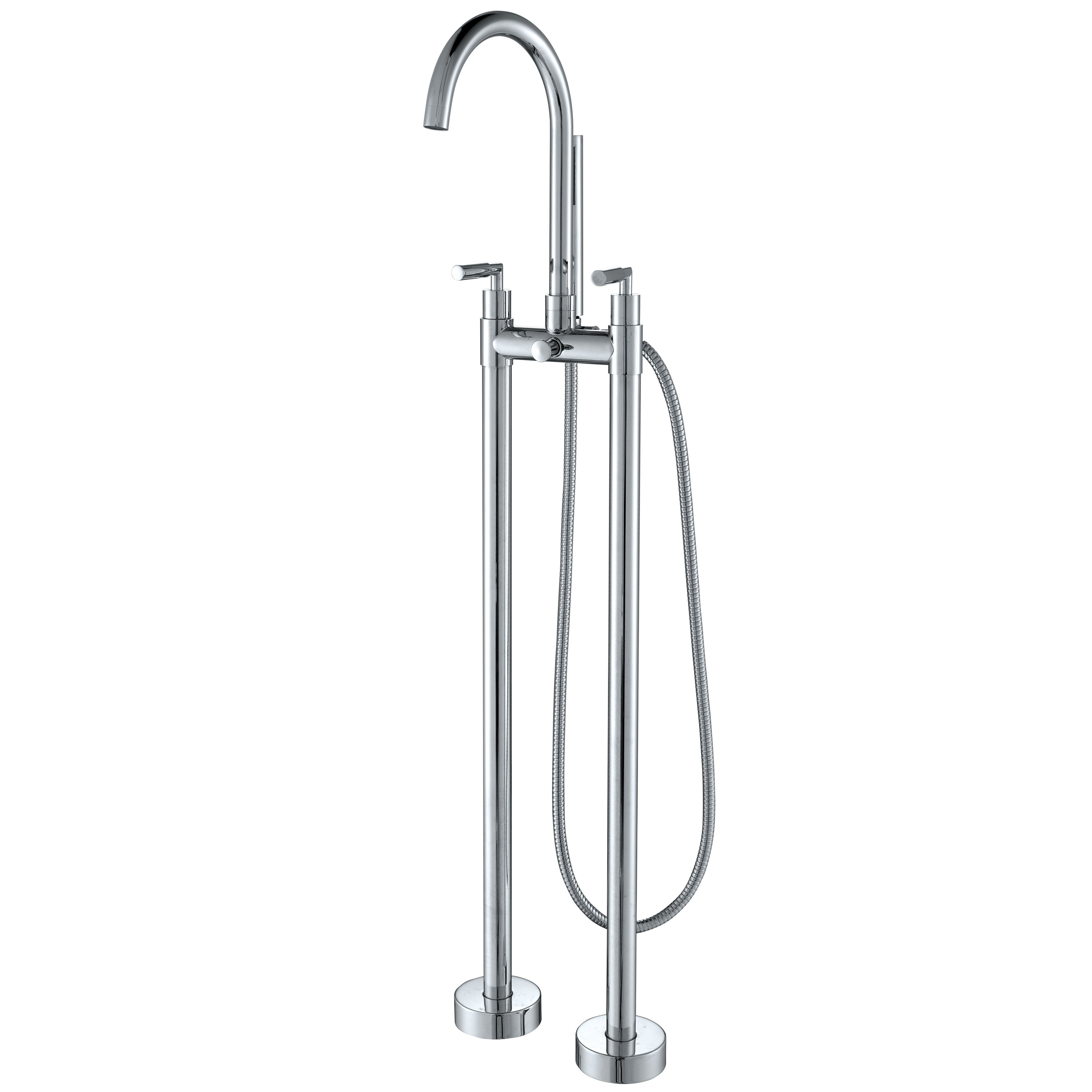Akdy Double Handle Floor Mounted Clawfoot Tub Faucet Trim With Diverter And Handshower Reviews Wayfair