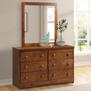 Saez 6 Drawer Double Dresser with Mirror by Breakwater Bay