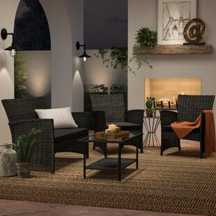 Charon 4 Piece Rattan Sofa Seating Group With Cushions