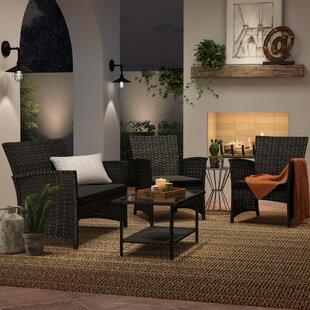 Charon 4 Piece Rattan Sofa Seating Group With Cushions by Mercury Row