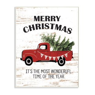 Christmas Most W On Derful Time Vintage Truck Graphic Art Print